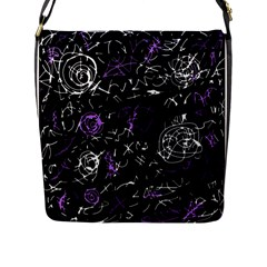 Abstract Mind   Purple Flap Messenger Bag (l)  by Valentinaart