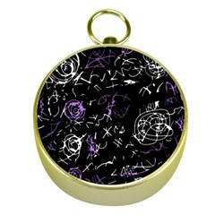 Abstract Mind   Purple Gold Compasses by Valentinaart