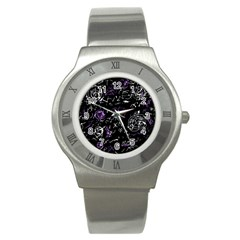 Abstract Mind   Purple Stainless Steel Watch by Valentinaart