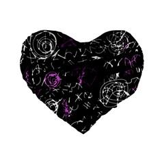 Abstract Mind   Magenta Standard 16  Premium Heart Shape Cushions by Valentinaart
