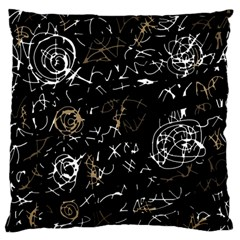 Abstract Mind   Brown Large Flano Cushion Case (two Sides) by Valentinaart