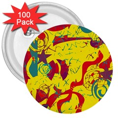 Yellow Confusion 3  Buttons (100 Pack)  by Valentinaart