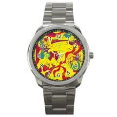 Yellow Confusion Sport Metal Watch by Valentinaart