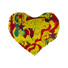 Yellow Confusion Standard 16  Premium Flano Heart Shape Cushions by Valentinaart