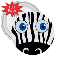 Blue Eye Zebra 3  Buttons (100 Pack)  by Valentinaart