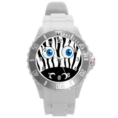 Blue Eye Zebra Round Plastic Sport Watch (l) by Valentinaart