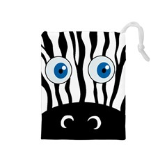 Blue Eye Zebra Drawstring Pouches (medium)  by Valentinaart