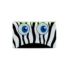 Blue Eye Zebra Cosmetic Bag (xs) by Valentinaart