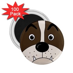 Bulldog Face 2 25  Magnets (100 Pack)  by Valentinaart