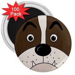 Bulldog Face 3  Magnets (100 Pack) by Valentinaart
