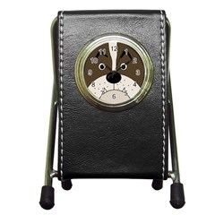 Bulldog Face Pen Holder Desk Clocks by Valentinaart