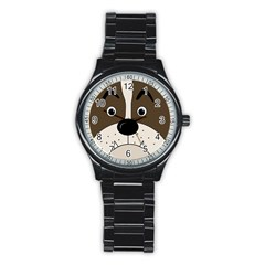Bulldog Face Stainless Steel Round Watch by Valentinaart