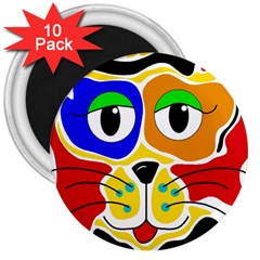 Colorful Cat 3  Magnets (10 Pack)  by Valentinaart