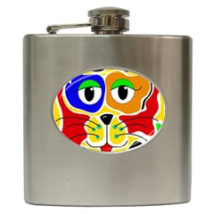 Colorful cat Hip Flask (6 oz) by Valentinaart