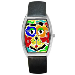 Colorful Cat Barrel Style Metal Watch by Valentinaart
