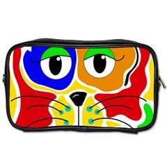 Colorful Cat Toiletries Bags by Valentinaart