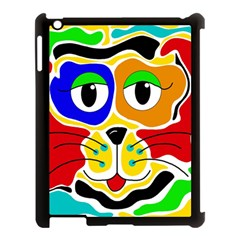 Colorful Cat Apple Ipad 3/4 Case (black) by Valentinaart
