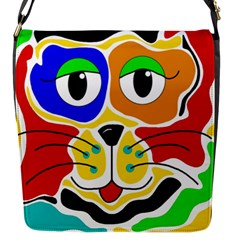 Colorful Cat Flap Messenger Bag (s) by Valentinaart
