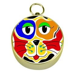 Colorful Cat Gold Compasses by Valentinaart