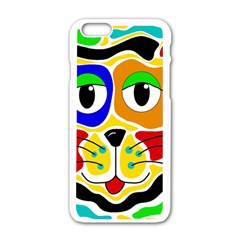 Colorful Cat Apple Iphone 6/6s White Enamel Case by Valentinaart