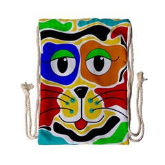 Colorful Cat Drawstring Bag (small) by Valentinaart