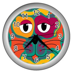 Colorful Cat 2  Wall Clocks (silver)  by Valentinaart