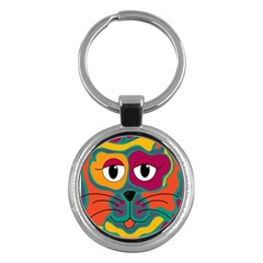 Colorful Cat 2  Key Chains (round)  by Valentinaart