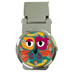 Colorful Cat 2  Money Clip Watches by Valentinaart