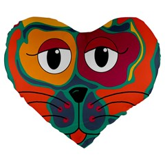 Colorful Cat 2  Large 19  Premium Heart Shape Cushions by Valentinaart