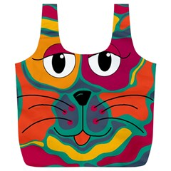 Colorful Cat 2  Full Print Recycle Bags (l)  by Valentinaart