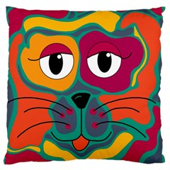 Colorful Cat 2  Large Flano Cushion Case (two Sides) by Valentinaart