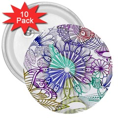 Zentangle Mix 1116a 3  Buttons (10 pack)