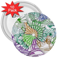 Zentangle Mix 1116c 3  Buttons (10 Pack)  by MoreColorsinLife