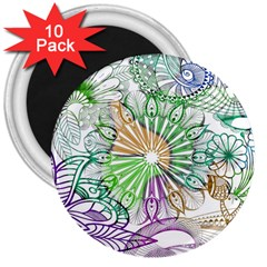 Zentangle Mix 1116c 3  Magnets (10 Pack)  by MoreColorsinLife