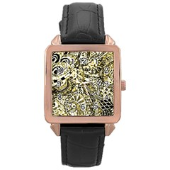 Zentangle Mix 1216a Rose Gold Leather Watch  by MoreColorsinLife