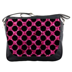 Circles2 Black Marble & Pink Marble (r) Messenger Bag by trendistuff