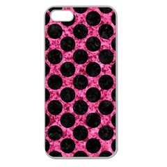 Circles2 Black Marble & Pink Marble (r) Apple Seamless Iphone 5 Case (clear) by trendistuff