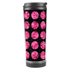 Circles1 Black Marble & Pink Marble Travel Tumbler by trendistuff