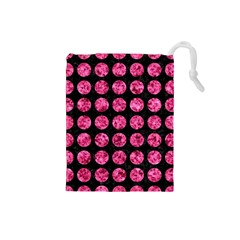 Circles1 Black Marble & Pink Marble Drawstring Pouch (small) by trendistuff