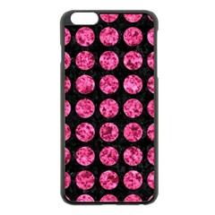 Circles1 Black Marble & Pink Marble Apple Iphone 6 Plus/6s Plus Black Enamel Case