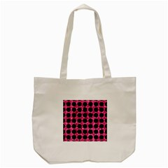 Circles1 Black Marble & Pink Marble (r) Tote Bag (cream) by trendistuff