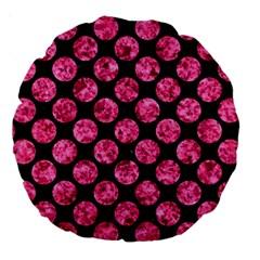 Circles2 Black Marble & Pink Marble Large 18  Premium Round Cushion  by trendistuff
