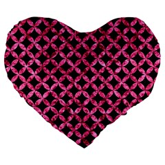 Circles3 Black Marble & Pink Marble Large 19  Premium Flano Heart Shape Cushion by trendistuff