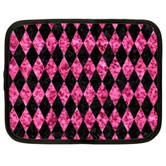 Diamond1 Black Marble & Pink Marble Netbook Case (xl) by trendistuff