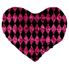 Diamond1 Black Marble & Pink Marble Large 19  Premium Flano Heart Shape Cushion by trendistuff