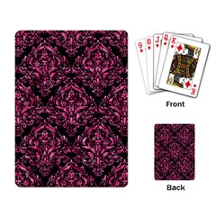 Damask1 Black Marble & Pink Marble Playing Cards Single Design by trendistuff