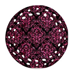Damask1 Black Marble & Pink Marble Ornament (round Filigree) by trendistuff
