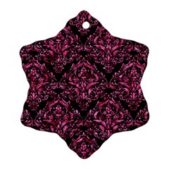Damask1 Black Marble & Pink Marble Snowflake Ornament (two Sides) by trendistuff
