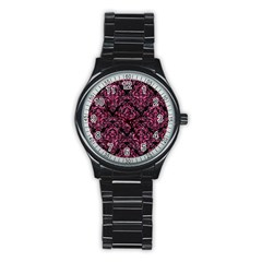 Damask1 Black Marble & Pink Marble Stainless Steel Round Watch by trendistuff