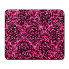 Damask1 Black Marble & Pink Marble (r) Large Mousepad by trendistuff